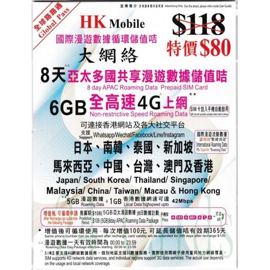 CSL (亞洲多國)「全球路路通」6GB/8天亞太多國共享漫遊數據儲值卡。